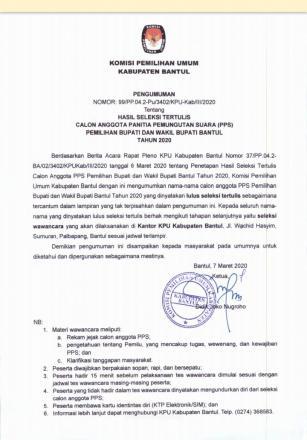 Pengumuman Hasil tes tertulis Calon PPS Kecamatan Pundong